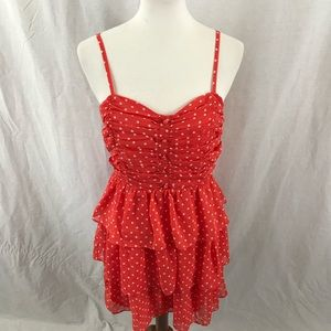 Forever 21 Large Orange Cream Polk Dot Mini Dress